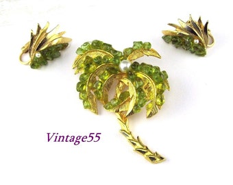 Brooch Palm Tree Earrings Green Tropical set Summer