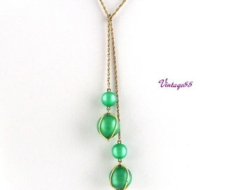 Necklace Lariat Green Lucite Moonglow