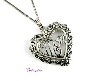 Sterling Necklace Mom Floral Heart Italy Vintage