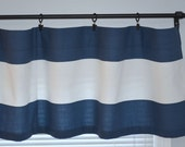 "Navy Window Valance Curtain - Cabana Navy Blue White Wide Rugby Horizontal Stripes  -  50"" x 16"" or 50"" x 18"""
