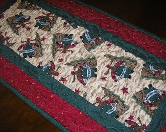 Christmas Moose Quilted Runner  12 x 25 1/2 inches
