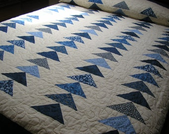 Queen Bed Quilt, Blue Flying Geese,  93 x 104 inches
