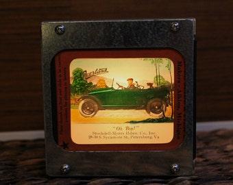 OLD AUTOMOBILE AD - Vintage magic lantern glass slide light box