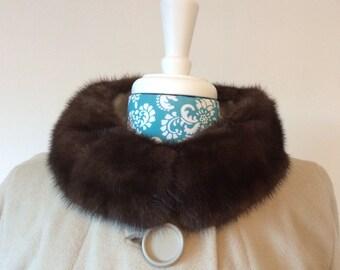 vintage 1960s cashmere coat // mink fur collar // huge buttons 60s taupe coat