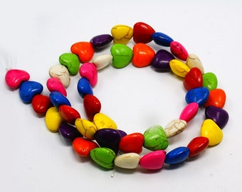 Heart Howlite Beads - Mixed colors - Sold per strand - #TURQ151