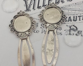 5 Antique Silver DIY Photo Bookmark Kits with Matching 20mm Glass Cabochons