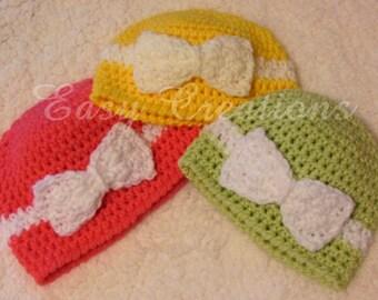 CROCHET PATTERN Bow Headband Beanie Baby Babies girl girls hat toque 0 to 6 mo skill level intermediate