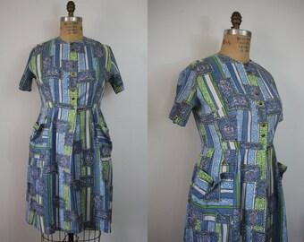 vintage 1950s dress / 50s cotton day dress / 50s blue green stripe dress / 50s novelty print dress / 50s plus size dress / sz xl extra large