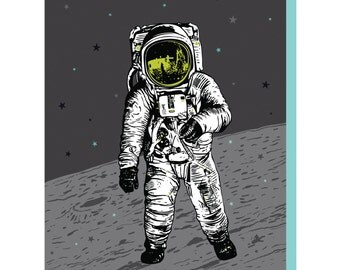 Astronaut Card, Space Card, A2 size Moon Greeting Cards, blank birthday cards, lunar spaceman space design, recycled paper, Man on the Moon