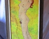 Art, Oil Painting, Nude, 1970s, Yellow, Grease Pencil, Delos Palmer, Large