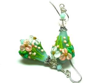 Green Earrings Lampwork Earrings Glass Earrings Handmade Earrings Green Floral Earrings Flower Earrings Artisan Earrings Beaded Earrings