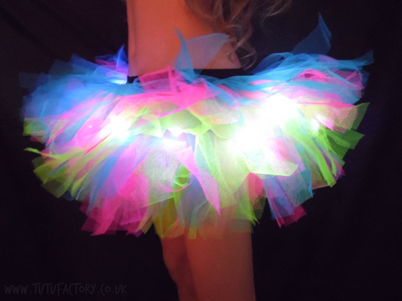 Rainbow Tutu Light Up Tutu EDM EDC Rave Club Wear Neon Tutu