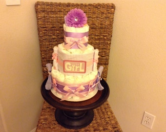 Purple And pink it's a girl  Diaper Cake Baby Shower Centerpiece  other styles and colors available