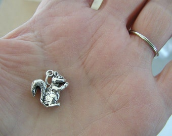 Squirrel Eating Nut  Sterling Silver Charm