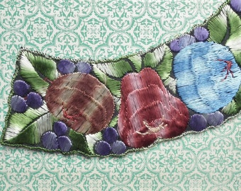 Vintage Fabric Applique 1920s 1930s Sew On Applique Dress Trim Art Deco 20s 30s Fruit with Green Leaves Pears Apples Grapes