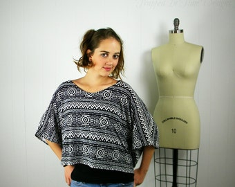 Black and White Crop Top, Aztec Shirt, Aztec Print Crop, Womens Aztec Shirt,  Oversize Shirt, Black and White Shirt