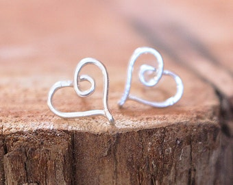 Heart Earrings, Posts, Studs, Sterling Silver, Copper, Gold Filled, Wire Jewelry