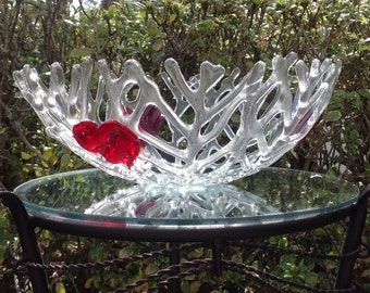Fused Glass Coral Bowl With Hearts