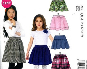 GIRLS SKIRT PATTERN / Make Five Styles of Child Skirts / Size 3-6 or 7-14