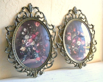 Pair of Vintage Ornate Italian Framed Floral Pictures with Convex Bubble Glass
