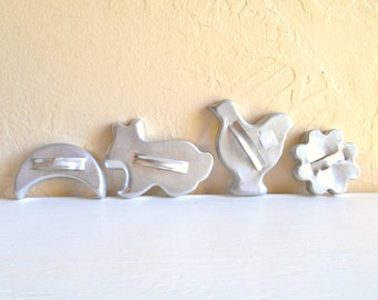 Vintage Silver Metal Cookie Cutters - Set of 4 Four Moon Flower Bird Rabbit