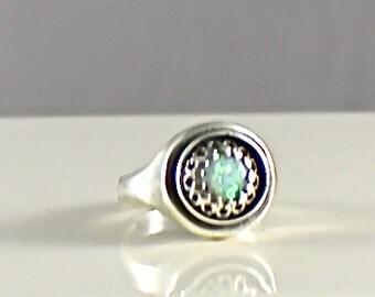 Sz 7 Sterling Silver Opal Ring Size 7