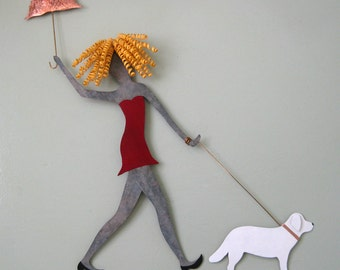 Metal wall art Lady Walking Dog wall decor - upcycled metal wall sculpture poodles dachshunds chihuahua lab