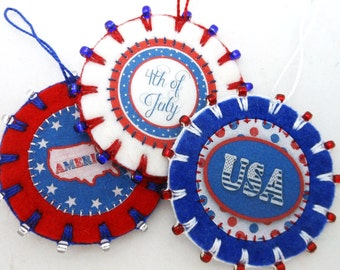 3 Wool Felt July 4th / Patriotic Ornaments with Beading - 2.25""