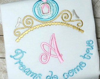 Dreams Do Come True Tiara Custom Embroidered T- shirt - sample SALE
