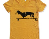 Womens Longboard DACHSHUND T Shirt american apparel S M L XL (16 Colors Available)