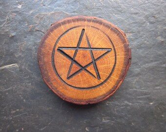 Natural Wood Pentacle Talisman - English Oak - To Honour the Oak King.
