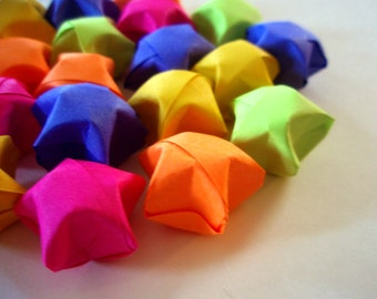 20 Fluorescent Rainbow Bright Origami Lucky Stars - Bright and Colorful Stars - Wishing Stars - Favors, Confetti, Table Decor