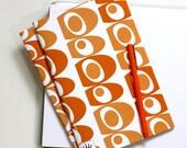 6 x 9 Paper Filled Journals, Two, Mid Century Blobs, Orange