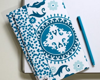 6 x 9 Paper Filled Journals, Two, Suzani, Turquoise Teal