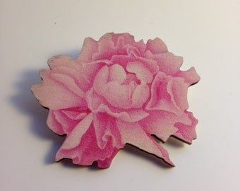 CANDY PINK FRILL - peony printed wood brooch