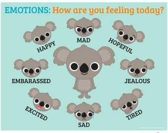 "Emotions Poster ""How are you feeling today?"" for home or school classroom use, digital download"