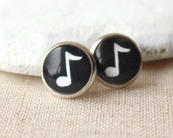 Music Earrings, Treble clef Earrings choose CLIP or STUDS, gift for Musician, music Jewelry, nickel free, handmade earrings E485