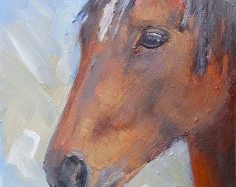 "Horse Portrait, Brown horse, Daily Painting, Small Oil Painting, 8x6"" Oil Portrait"