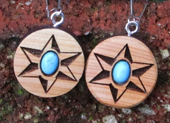 Star and Turquoise Wood Earrings-  In Juniper Wood with Turquoise  (043)- Wooden Jewelry, Boho Jewelry