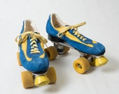 Blue and Yellow Leather Roller Skates