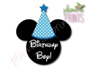Instant Download DIY Iron-On Transfer JPEG Files Disney Birthday Boy with Blue Hat Mickey Mouse