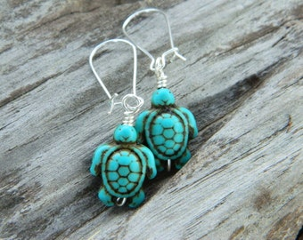 Turtle Earrings -Turquoise- Blue, Aqua, Ocean, Sea, Brown, Bronze, Dark, Fall, Animal, Jewelry Earrings, Turquoise Jewelry, Silver Earrings