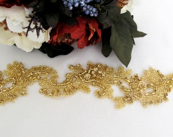 DIY Wedding Bridal Gold  Rhinestone Pearl Crystal Trim for Bridal Belts,Veils,wedding sash, bridal cap veil, Straps,