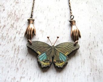 Forest Green - Wooden Butterfly and Oxidized Copper Chain Handmade Necklace