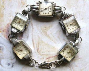 Time After Time - Handmade Bracelet With Silver Tone Vintage Art Deco Watches with Gift Box