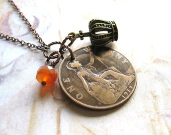 Lucky Penny - Antique Copper Coin, Gemstone and Crown Charm Handmade Necklace with gift box