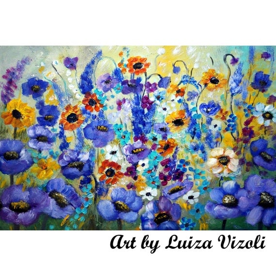 """FLOWERS 36"""" ORIGINAL Large Oil Painting Unique texture Large  Abstract SPRING Flowers Modern Artwork by Luiza Vizoli"""