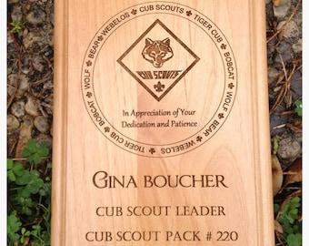 Cub Scout Plaque- Leader Award Laser Engraved 8 x 10