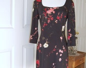1990s - Black Floral Dress - Little Black Dress - Party Dress - Club dress - Rampage Dress - Empire Waist  Dress - Bust 36