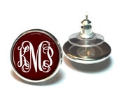 Monogram Earrings - Maroon Stud Earrings - Bridesmaid Gift - Style 556